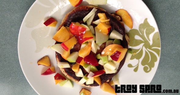 Protein Pancakes made with Apple and Nectarine