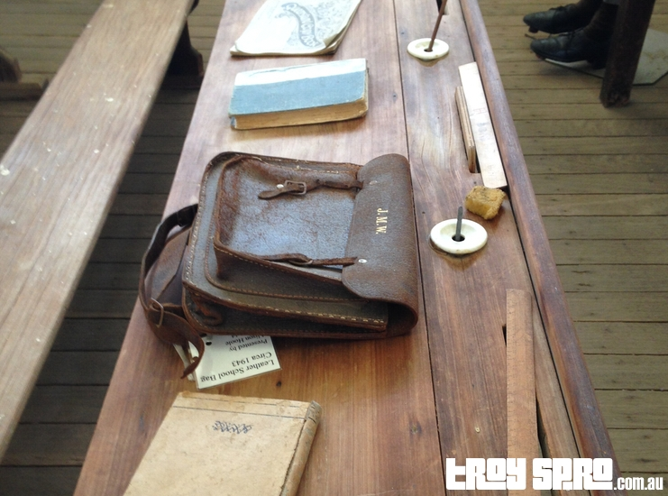 Leather School Bag at the Miles Historical Museum