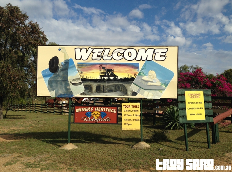 Miners Heritage Welcome Sign Rubyvale Queensland