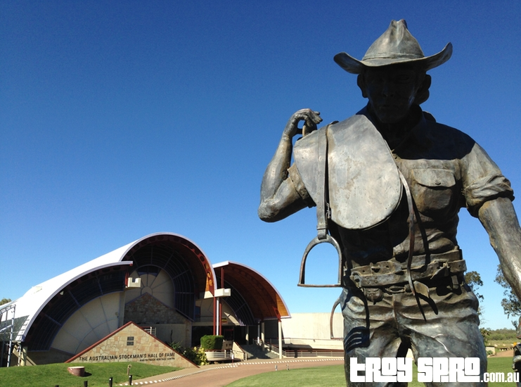 The Ringer Statue outside The Australian Stockmand Hall of Fame Longreach