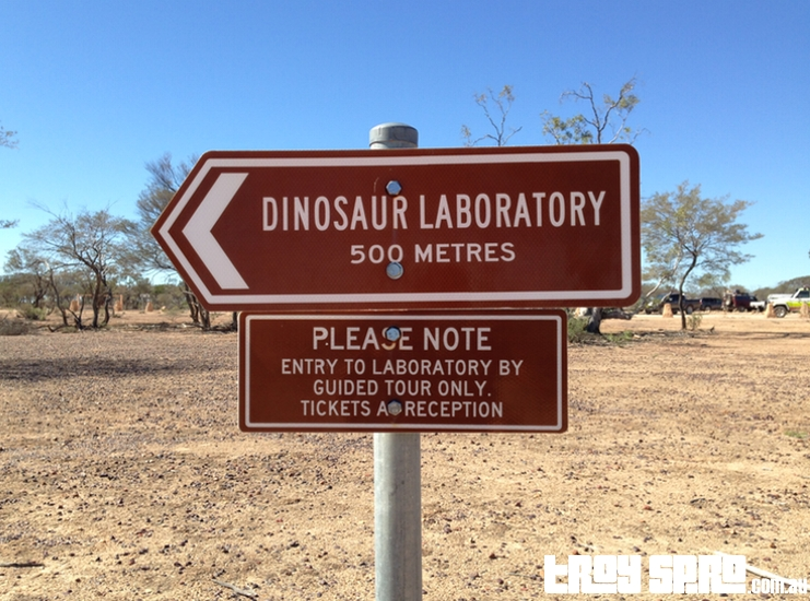 Dinosaur Laboratory Sign at Age of Dinosaurs in Winton Queensland