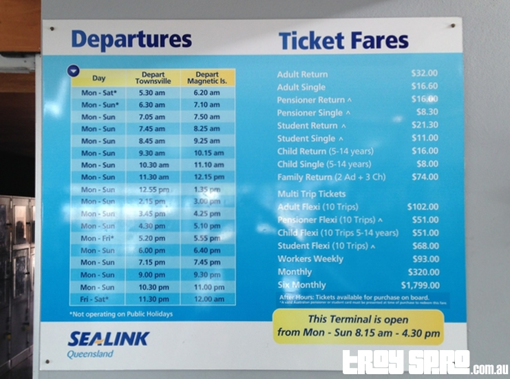 Departure Times and Prices for Magnetic Island Ferry Sealink Townsville