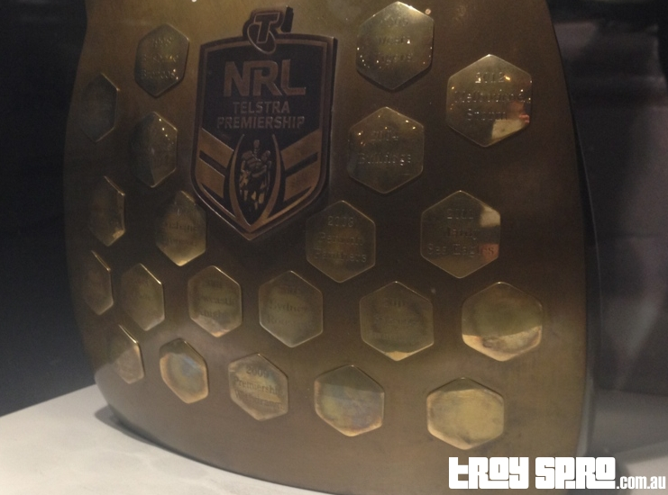 NRL Telstra Premiership Trophy at Cowboys Rugby League Club