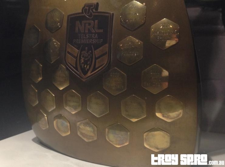 NRL Telstra Premiership Trophy at Cowboys Rugby League Club