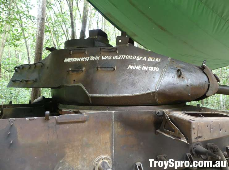 American M4 Tank destroyed by mine at Cu Chi Tunnels Vietnam
