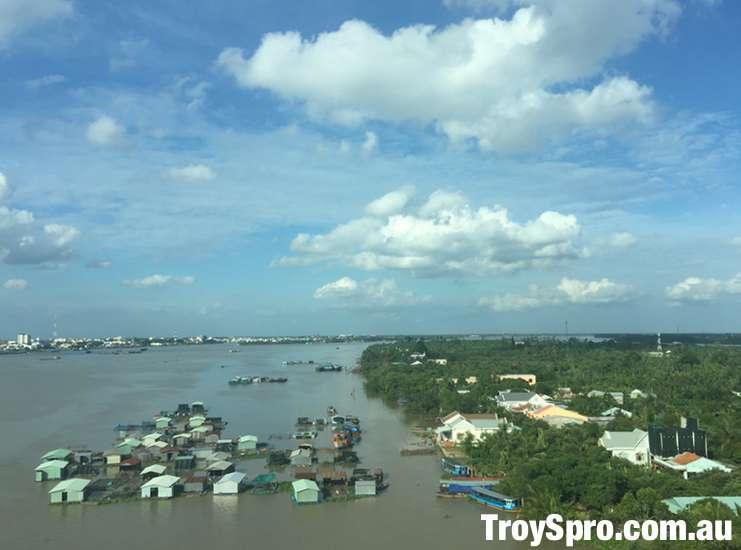 Bridge into Can Tho in Mekong Delta Vietnam