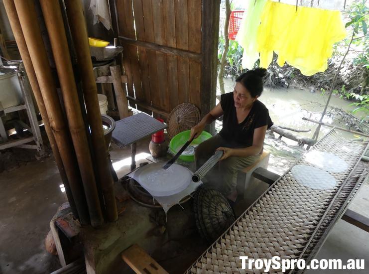 Crispy Rice Paper Making in the Mekong Delta Vietnam