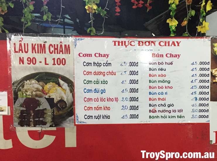 Prices of Vegetarian Food in Can Tho Vietnam Com Chay and Bun Chay