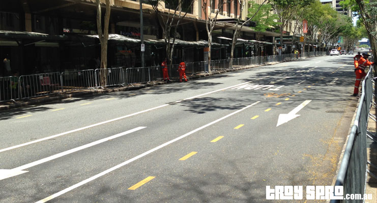 G20 Adelaide Street Brisbane City empty and blocked for G20 Motorcades looking towards Southbank