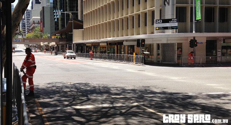 G20 Adelaide Street Brisbane City empty and blocked for G20 Motorcades