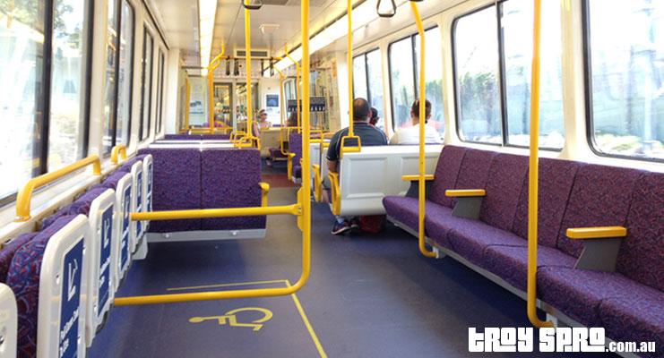 G20 Train Travel into Brisbane City with Empty Train