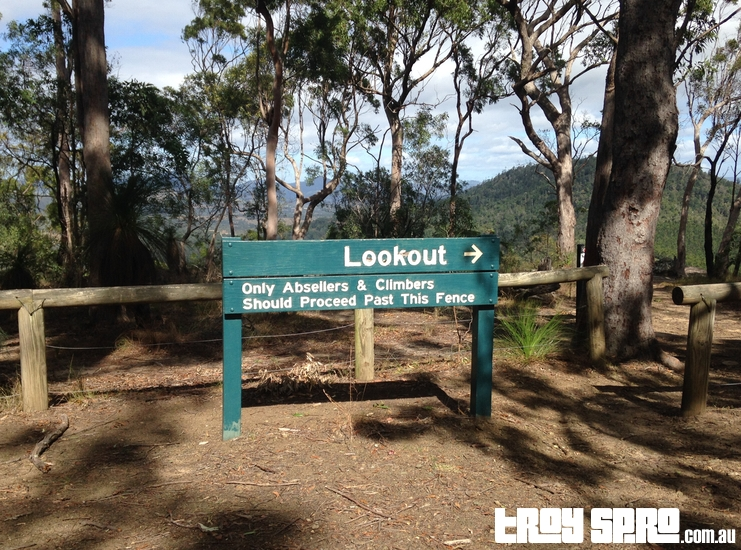 Brooyar Forest Lookout Sign for Abseilers and Climbers