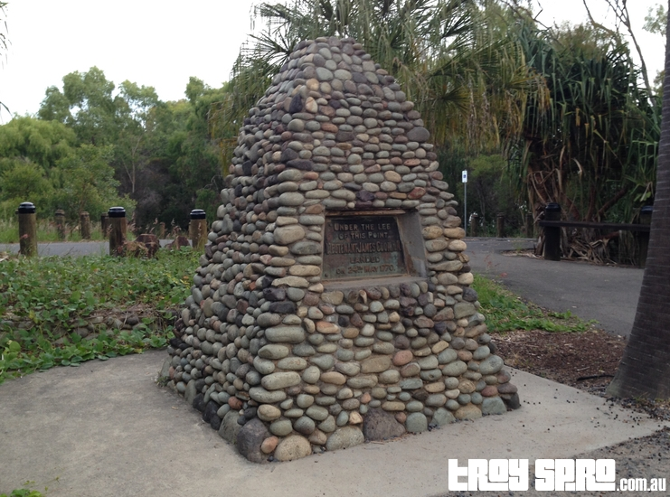 Captain Cook Monument Cairn at Round Hill at Seventeen Seventy 1st Landing
