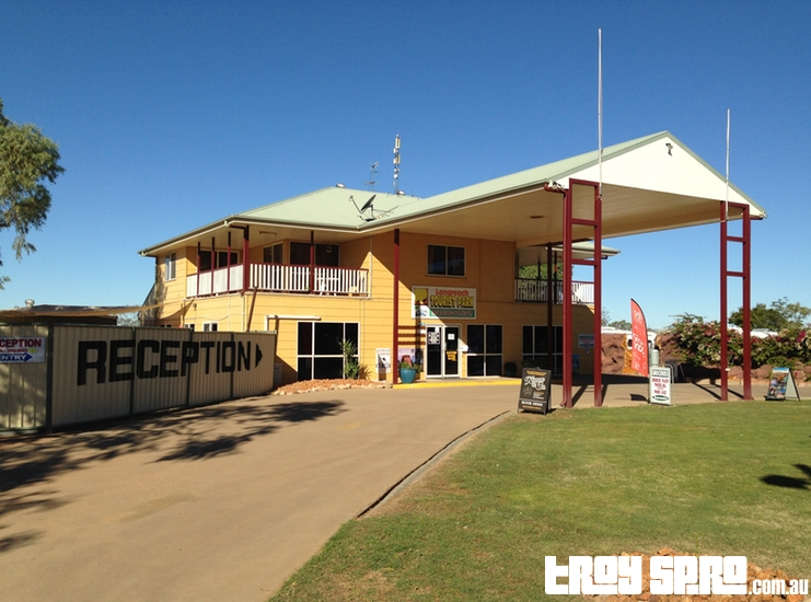 Longreach Tourist Park office for booking accommodation for caravan park Outback Queensland