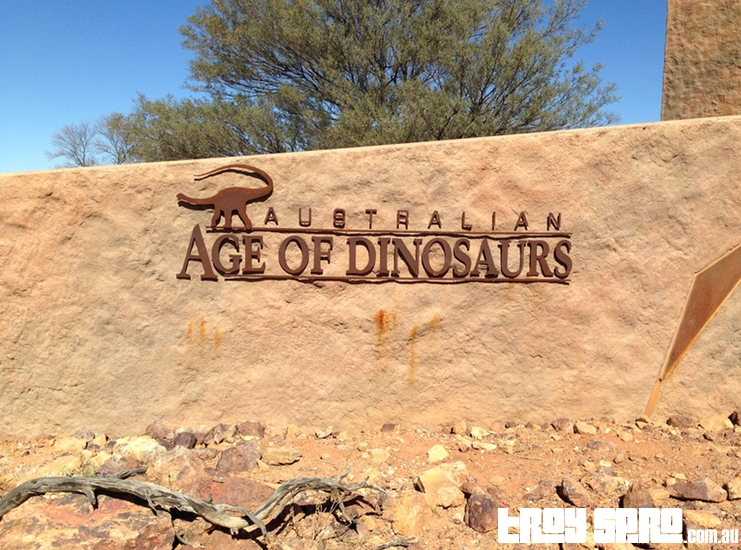 Australian Age of Dinosaurs in Winton Queensland Front Sign
