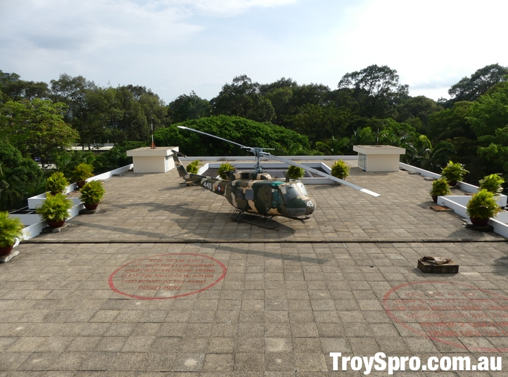 View of Helipcopter Pad and Bomb Site on the Independence Palace Roof Ho Chi Minh Saigon