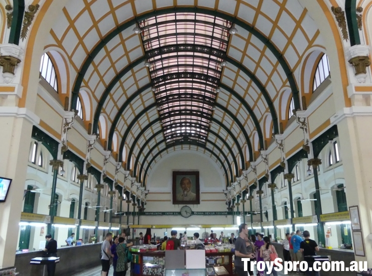 Inside the Saigon Post Office Building in Ho Chi Minh City Vietnam