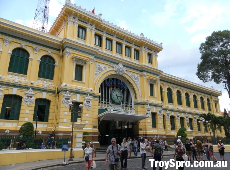 Saigon Central Post Office Front Entrance in Ho Chi Mih City Vietnam