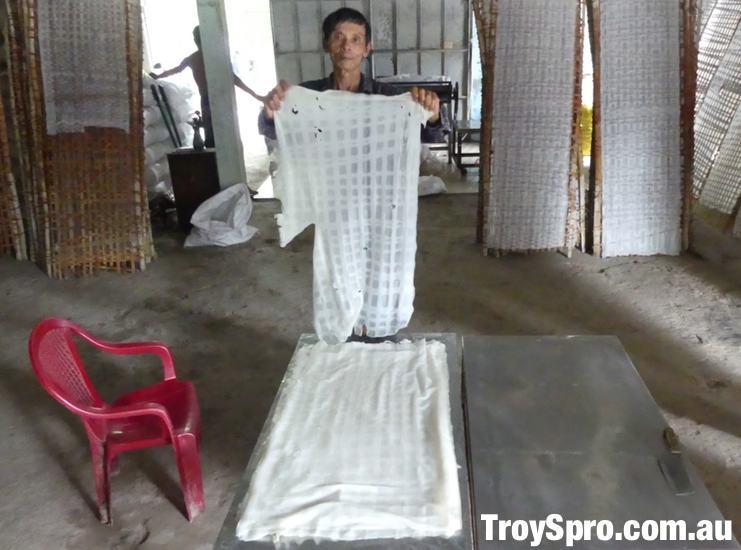 Rice Noodle Making Factory Ben Tre Mekong Delta Vietnam